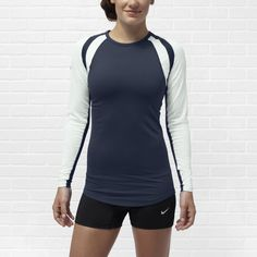 Nike Court Warrior Women's Long-Sleeve Volleyball Jersey (195 BRL) ❤ liked on Polyvore featuring activewear, activewear tops, nike jerseys, athletic sportswear, dri fit jerseys, nike activewear and nike