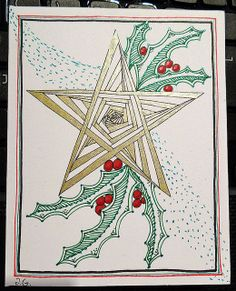 Zentangle style Christmas card 5 (2013): Star and holly | Flickr - Photo Sharing!