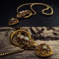 A stunning mid-Victorian opal & ruby snake necklace online now. | CJAntiquesLtd.com |