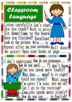 A poster to practise teacher-student and student-teacher classroom language. Hope you like it. Hugs mada :) - ESL worksheets