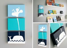 maybe use crown moulding for the books.  Also love the 3 piece canvas