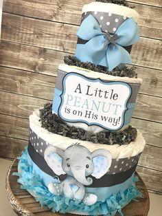 Little Peanut Diaper Cake in Blue and Gray Elephant Baby