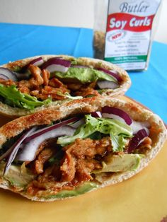 Spicy BBQ Avocado Pita Sandwich w/ Soy Curls