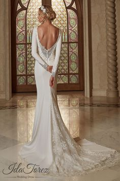 Queenly Trumpet-Mermaid Bateau Natural Court Train Stretch Crepe Ivory Long Sleeve Open Back Wedding Dress Appliques Beading 08006 #weddingdresses #cocomelody #designercollections