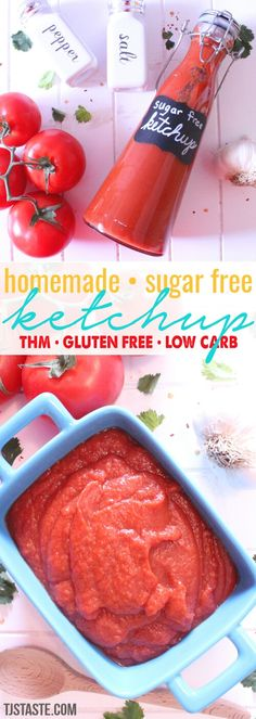 Homemade Sugar Free Ketchup - - This low carb, low fat, sugar free ketchup contains all of the salty, tangy flavor of traditional ketchup without all the bad stuff. Hcg Diet Recipes, Thm Recipes, Sugar Free Recipes, Canning Recipes, Family Recipes, Sugar Free Ketchup Recipe, Low Carb Ketchup, Healthy Ketchup Recipe, Free Kids Meals