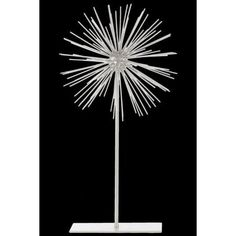 Large Sea Urchin Ornamental Sculpture Decor on Stand - White - Benzara