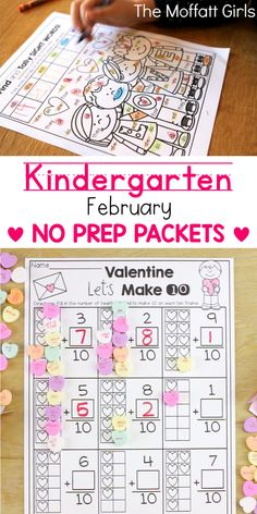 Teach basic addition, subtraction, sight words, phonics, letters, handwriting and so much more with the February NO PREP Packet for Kindergarten!
