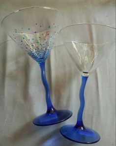 My version: $1 store funky martini glasses... Decorated in sharpie and baked at 350 for 30 minutes
