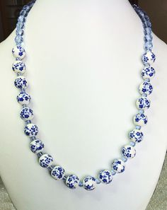 Blue & white porcelain necklace