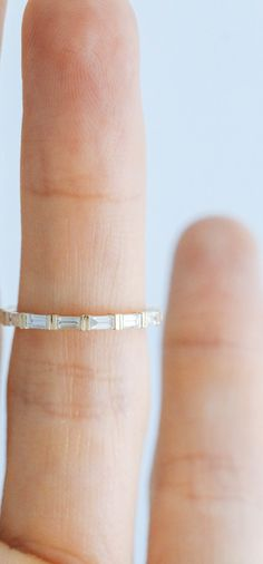 """Good Stone """"Dainty Baguette Stacker"""" Bar end Setting with 6 diamonds Available in Rose, Yellow, and White gold (.24ctw)"""