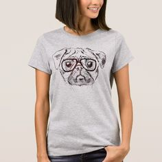 Hipster Pug Illustration on Zazzle @zazzle #zazzle #pug #pugs #dog #dogs #funny #cute #pet #pets #buy #shop #shopping #sale #nice #cool #awesome #friends #family #gift #idea #women #men #tshirt #tee #shirt #clothes #apparel