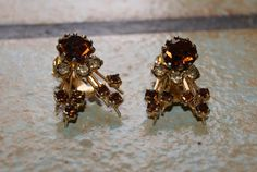 Vintage Gold Tone Clip On Earrings With Amber Stones Marked AUSTRIA 1960s