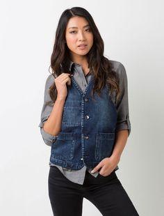 Women's Workers Denim Vest | Our Workers Denim Vest is made from a premium heavyweight denim. #DenimVest #Denim