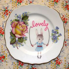 Items similar to Lovely Skipping Bunny with Stunning Roses and Perriwinkle Flowers Vintage Illustrated Plate on Etsy Vintage Plates, Vintage China, Vintage Love, My Cup Of Tea, China Painting, Home And Deco, Plates And Bowls, Ceramic Art, Kitsch