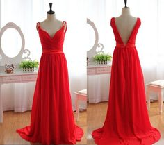 V-neck A-line Red Chiffon Prom Dress Simple Bridesmaids Dress V-neck Prom Gown Evening Dress on Etsy, $119.99