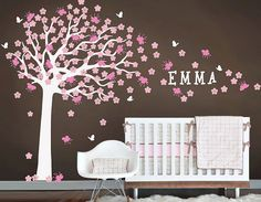 Nursery decals Cherry Blossom wall decal Custom baby Name flower wall decals baby room vinyl home Art Decals Wall Sticker stickers crib kids...