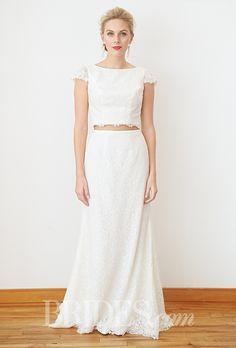 An awesome, crop top @davidsbridal #weddingdress | Brides.com