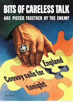 Bits of careless talk are pieced together by the enemy. Illustrated by Stevan Dohanos, c. 1943.
