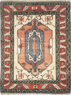 NEW CONTEMPORARY PERSIAN SERAPI AREA RUG 51870 - AREA RUG  This beautiful Handmade Knotted Rectangular rug is approximately 7 x 9 New Contemporary area rug from our large collection of handmade area rugs with Persian Serapi style from Turkey with Wool