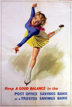 Keep a Good Balance (Skater), 1946 - original vintage poster by Mary Le Bon listed on AntikBar.co.uk