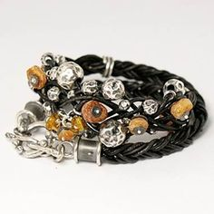 Tribal - bracelet - braided leather with focal beads in the middle