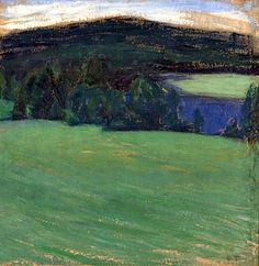 Ellen Thesleff - Landscape, 1906 Landscape Art, Landscape Paintings, Nordic Art, Canadian Art, Paintings I Love, Light Colors, Colours, Woman Painting, Natural World