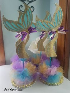 Mermaid Centerpiece/Mermaid Baby Shower Centerpiece/Mermaid Theme Centerpiece/Mermaid Birthday Centerpiece/Purple and Turquoise Centerpiece - Birthday Party 5 Birthday Centerpieces, Baby Shower Centerpieces, Birthday Party Decorations, Birthday Parties, Mermaid Theme Birthday, Little Mermaid Birthday, Girl Birthday, Little Mermaid Baby, Little Mermaid Parties
