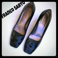 Franco Sarto Heels Black. Leather. Open toe. Never worn. Franco Sarto Shoes