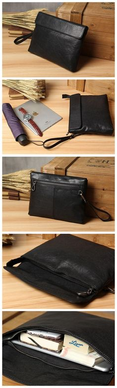 Handmade Men's Leather Clutch Handbag iPad Sleeve Long Wallet 14111 Overview: Design: Vintage Genuine Leather ClutchIn Stock: days For MakingInclude: Only Men's Leather, Canvas Leather, Leather Clutch, Leather Fashion, Clutch Bag, Leather Diy Crafts, Leather Craft, Office Bags, Photography Bags