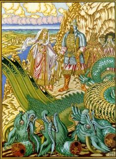 """Ivan Bilibin was a Russian artist who illustrated Russian folk and fairy tales. This illustration is from the Russian folk tale, """"Dobrynya and the Dragon"""". Here Dobrynya Nikitich rescues Zabava from the Gorynych dragon). Ivan Bilibin, Russian Folk, Russian Art, Russian Painting, Chinese Painting, Chinese Art, Folklore Russe, Eslava, Dragons"""