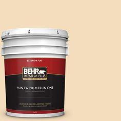 BEHR Premium Plus 5-gal. #YL-W1 Spinning Silk Flat Exterior Paint