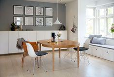 Seat bench in bay window Dining Bench, Kitchen Dining, Scandinavian Interior, Bay Window, Office Desk, Living Room Decor, Ikea, Design Inspiration, House Design