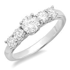 9e89fff259b Dazzlingrock Collection Carat (ctw) White Gold 5 Stone Round Diamond Ladies  Anniversary Wedding Ring Band 1 CT   Engagement Rings And Wedding Bands