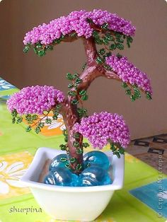 Árbol de los bonsai Topiary rebordea el mini Beads