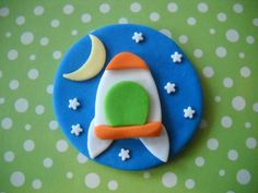 Rocket Ship Edible cake and Cupcake Toppers Set by SugarArtByTami, $12.95