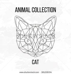 Geometric vector animal cat head background