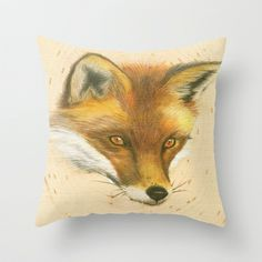Red Fox Throw Pillow by Art by Elle - $20.00