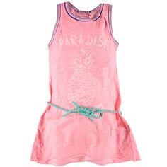 Koop deze Super leuk neonroze zomer jurkje van Vingino voor meisjes. De vingino print voorop is in glitter lichtroze kleur. De kleur is iets feller dan de foto voor 34,95