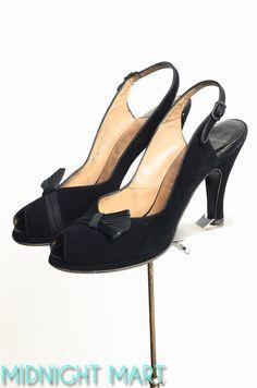 1940s shoes/ 40s black platform heels/ peeptoe by MidnightMart, $98.00
