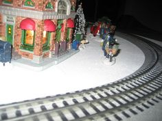 Close up of a Christmas train display