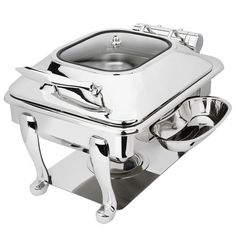 Stainless Steel Square Induction Chafer with Freedom Stand and Hinged Glass Dome Cover Specialty Cookware, Induction Heating, Keep Food Warm, Chafing Dishes, Heating Element, Glass Domes, Kitchenware, Tableware, Kitchens