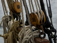 Photographic Print: Close Up of Ropes and Pulleys of a Tall Ship by Todd Gipstein : Pulleys And Gears, Classic Sailing, Tall Ships, Image Shows, Find Art, Framed Artwork, Close Up, Ropes, Pure Products