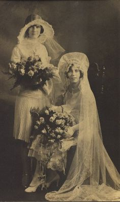 vintage bride and bridesmaid - Tell your sister no whining about the dress or you'll make her wear a hat like this.