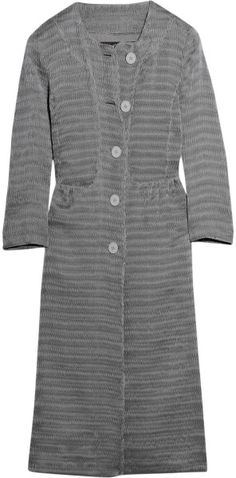 Burberry Prorsum Silk-blend Structured Plissé Coat in Gray