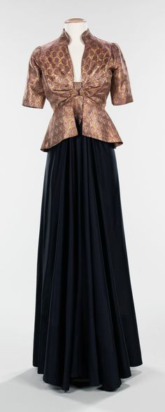 """1939 """"From the Arabic"""" silk, metal, wool, and lamé Evening Ensemble by Elizabeth Hawes, American. This dress shows Hawes' interest in other cultures. The non-traditional choice of fabric, typical of Hawes design aesthetic, is an Isamic-inspired textile."""