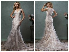Luxury Mermaid V-neck Lace Wedding Dress with Illusion Back