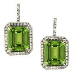 Emerald Cut Peridot Diamond Pave Earrings | From a unique collection of vintage lever-back earrings at http://www.1stdibs.com/jewelry/earrings/lever-back-earrings/