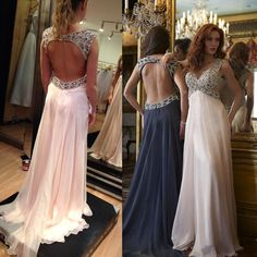 Open Back Prom Dresses with Sexy Cutouts, Crystal Beaded V-neck Prom Dress, Discounted Empire Chiffon Prom Dresses