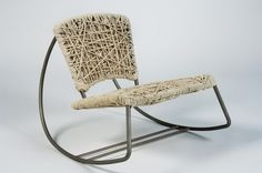 """Measures approx. 27.5""""H x 31.5""""W x 35""""D    The frame is made entirely of stainless steel. All tubing is bent by hand with the aid of a conduit bender, then welded together. Approximately 1000 feet of natural cotton rope is used and woven in a random pattern to create the seat and backrest area. The rope is sewn in random, inconspicuous places to prevent it from unraveling."""