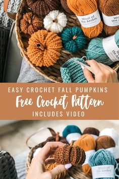 Free Crochet, Crochet Home, Crochet Crafts, Free Easy Crochet Patterns, Easy Crochet Projects, Crochet Yarn, Crochet Fall Decor, Holiday Crochet, Autumn Crochet